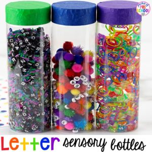 Letter Sensory Bottles and a FREE letter hunt printable to make learning letters FUN for preschool, pre-k, and kindergarten.