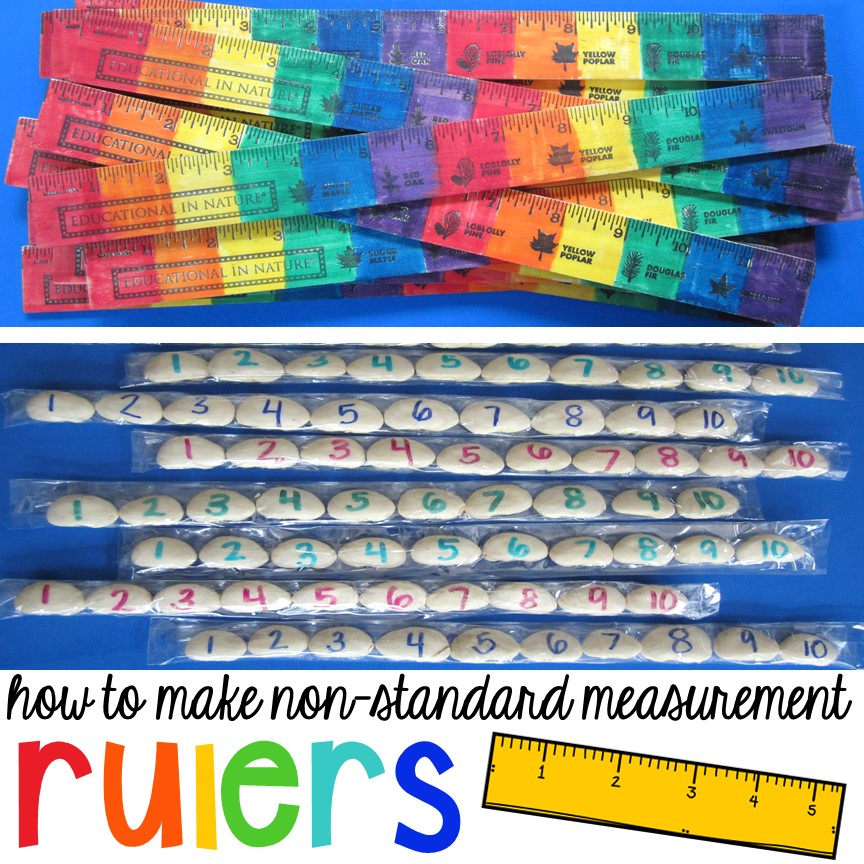 DIY rulers - How to make non-standard measurement tools (rainbow rulers & bean rulers)for your early childhood classroom. My students will love using these