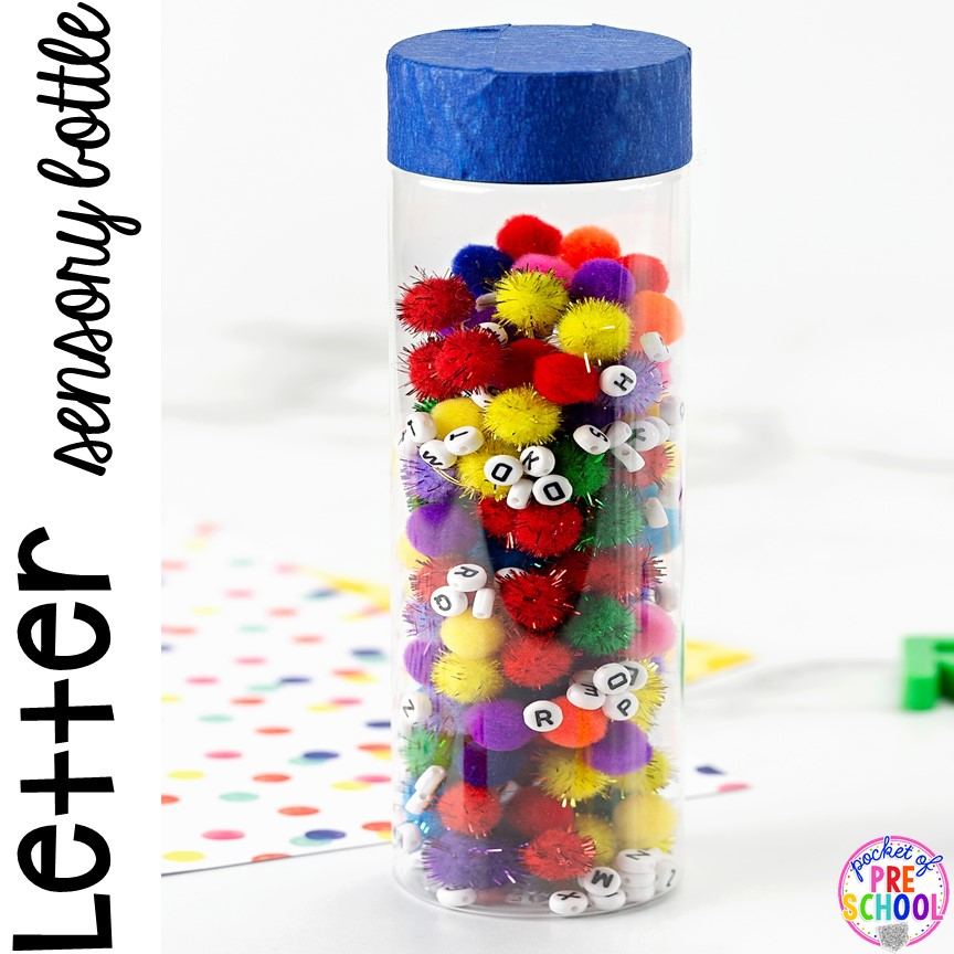 Letter Sensory Bottles (pompoms and letter beads) and a FREE letter hunt printable to make learning letters FUN for preschool, pre-k, and kindergarten.