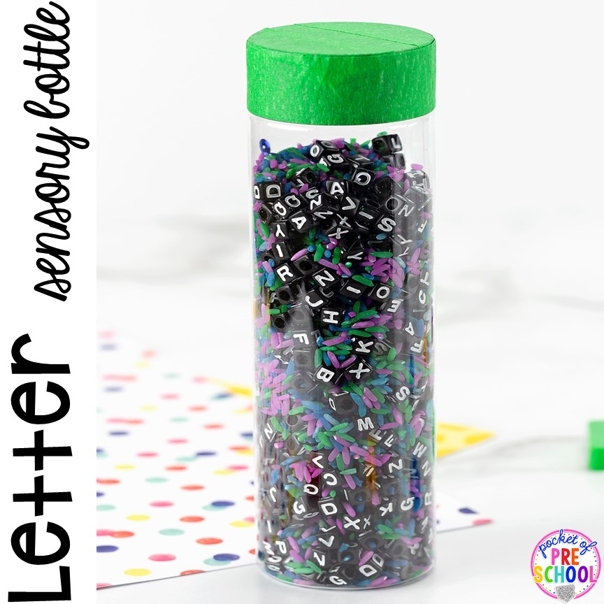 Letter Sensory Bottle (rice and letter beads) and a FREE letter hunt printable to make learning letters FUN for preschool, pre-k, and kindergarten.