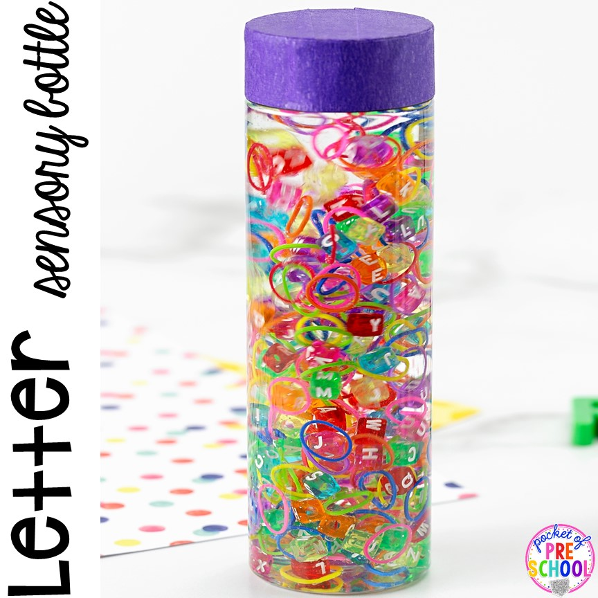 Letter Sensory Bottle (loom bands, water, letter beads) and a FREE letter hunt printable to make learning letters FUN for preschool, pre-k, and kindergarten.