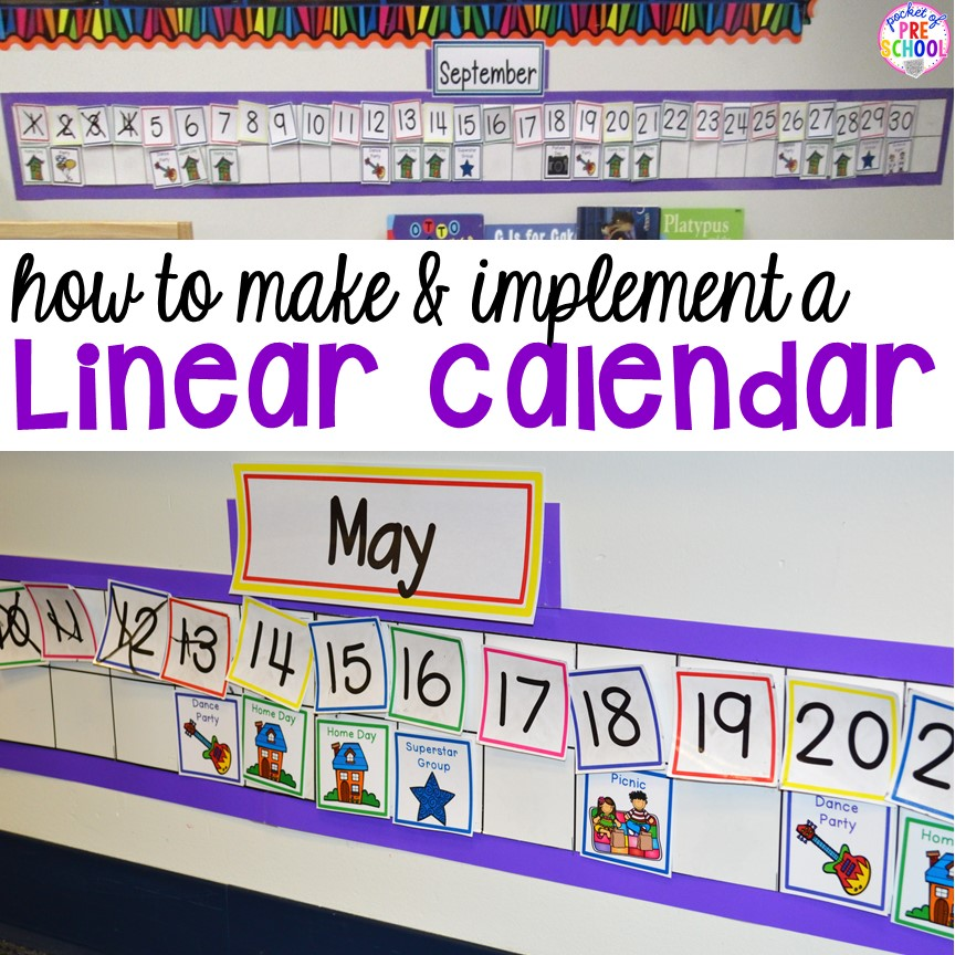 How to make, organize, and implement a linear calendar for your classroom (helpful hints to make calendar time fun for your preschoolers)