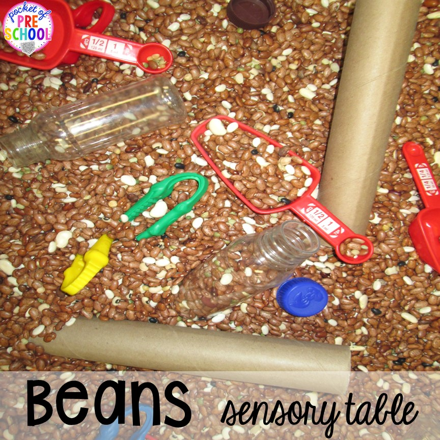 Dried beans sensory table plus tons more food and nutrition centers for preschool, pre-k, and kindergarten: reading, writing, math, fine motor, dramatic play, STEM, and art!