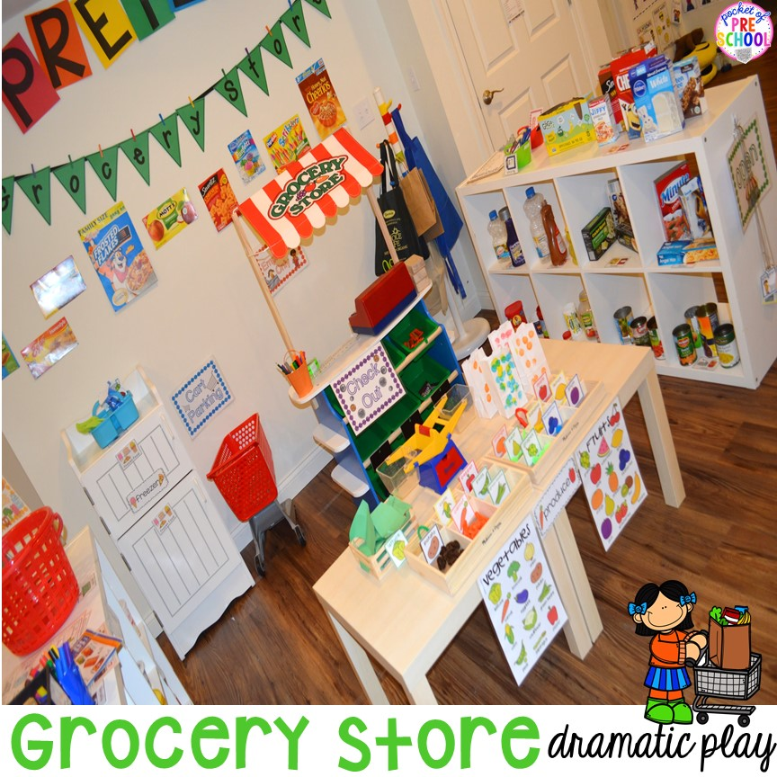Grocery Store dramatic play! Add literacy and math opportunities in your preschool, pre-k, and kindergarten classroom.