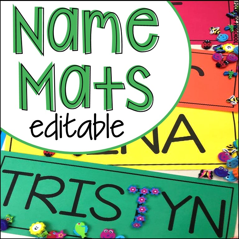 FREE Editable Name Mats perfect to use all over the classroom to help preschool, pre-k, and kindergarten kiddos learn their names.