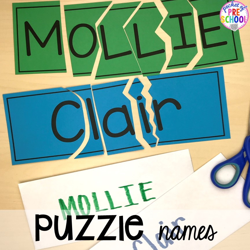 FREE Puzzle names to teach student's his/her names! Perfect for preschool, pre-k, and kindergarten. #preschool #pre-k #backtoschool #namecards