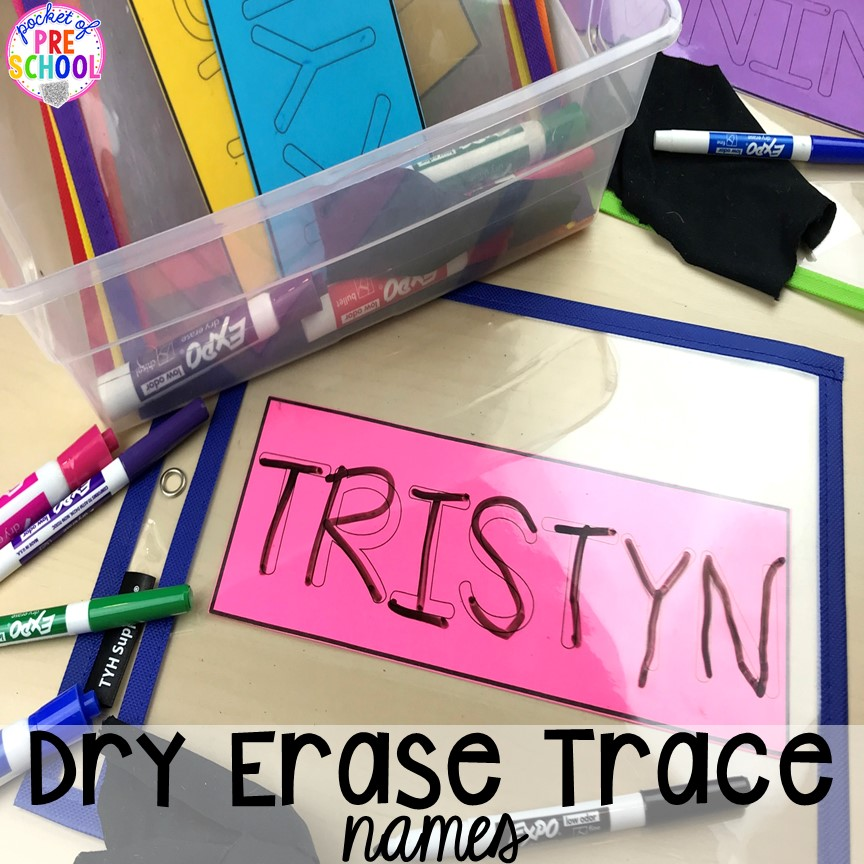 FREE name dry erase mats to teach student's his/her names! Perfect for preschool, pre-k, and kindergarten. #preschool #pre-k #backtoschool #namecards