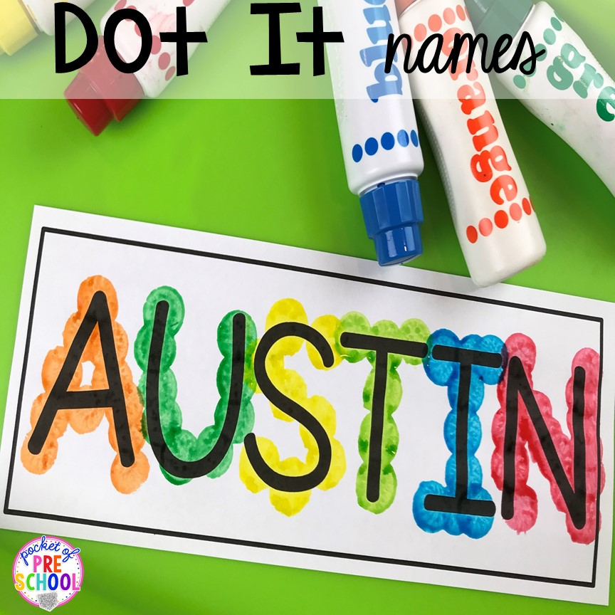 FREE name dot it mats to teach student's his/her names! Perfect for preschool, pre-k, and kindergarten. #preschool #pre-k #backtoschool #namecards