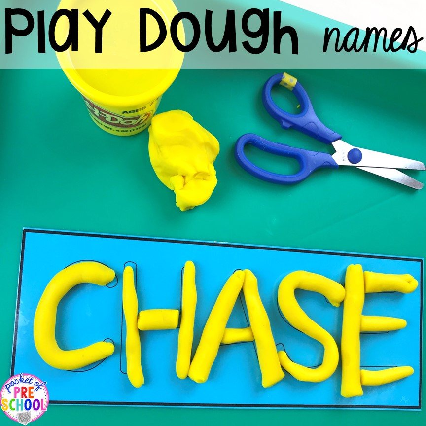 FREE Plaaydoh name mats to teach student's his/her names! Perfect for preschool, pre-k, and kindergarten. #preschool #pre-k #backtoschool #namecards