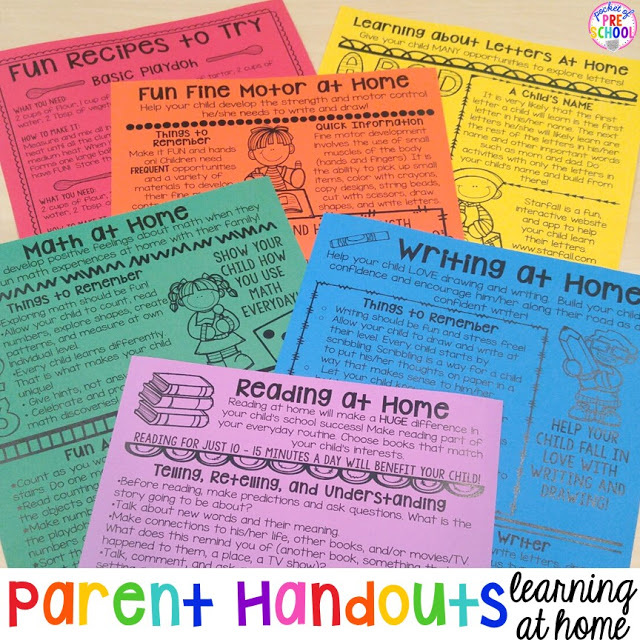 Building Skills & Learning At Home: Parent Handouts (aka FUN Homework For  Preschoolers) - Pocket Of Preschool