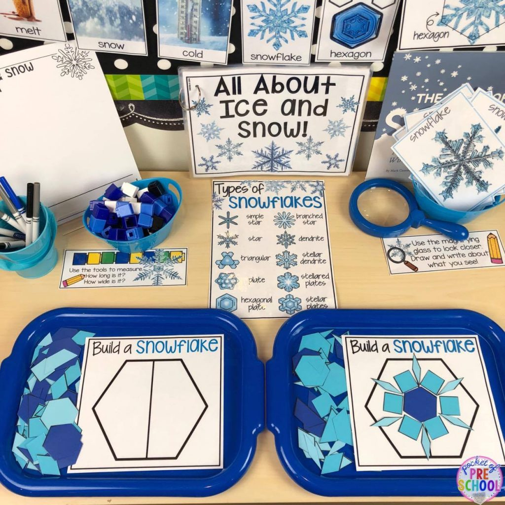 Ice and snow science table in a preschool classroom! explore and investigate snow and ice for a winter or polar animal theme. #preschool #prek #preschoolscience #iceexperiments #wintertheme