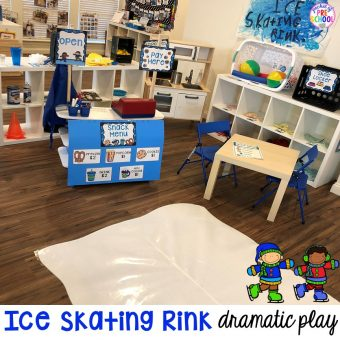 How to make an Ice Skating Rink Dramatic Play for Preschool, Pre-K, & Kindergarten classrooms. Perfect for a winter, polar bear, ice, penguin, or arctic theme. #dramaticplay #pretendplay #wintertheme #prek #preschool