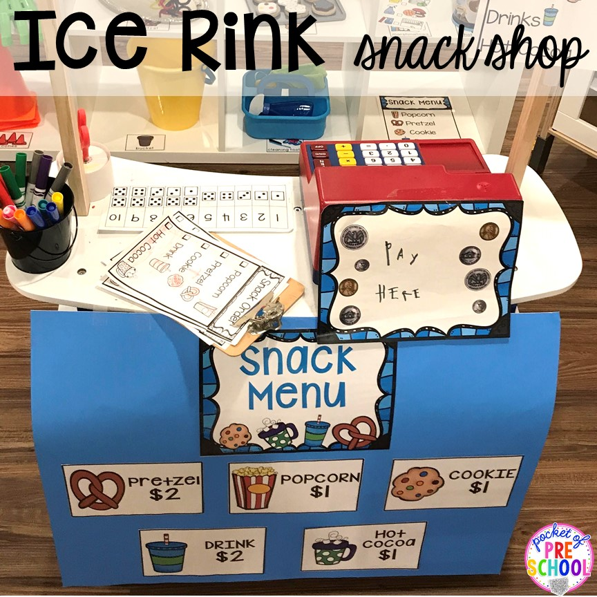 Ice rink snack shop stand! Customers have to buy the skates.  Both roles are counting the money, another fun math experience!  Then the customers try on their skates and go skating!  The best way I have found to support their play is to pretend right there with them!  Be the ice skater or the attendant yourself!  You can coach and support their pretend play just like you do their literacy or math play at their own individual level!