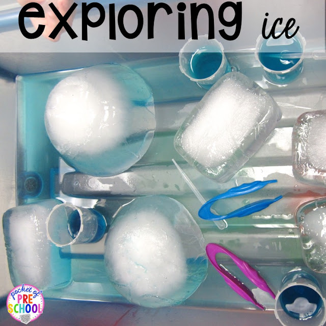 Arctic ice themed experiments and activities for preschool, pre-k, and kindergarten. Perfect for a winter, penguin, or polar bear theme.