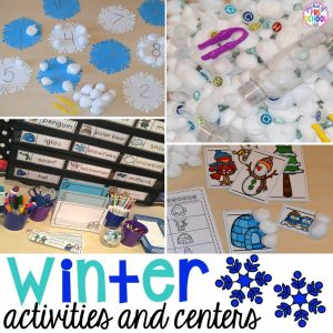 Winter activities and centers for preschool, pre-k, and kindergarten.