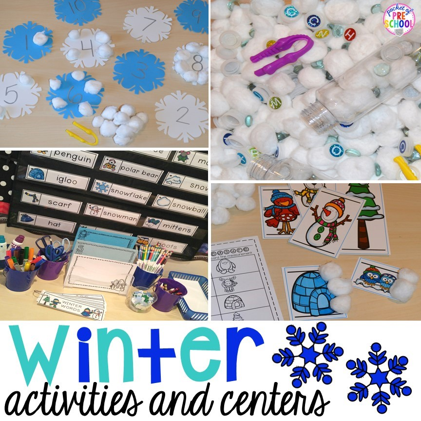 Winter themed activities for preschool, pre-k, and kindergarten.