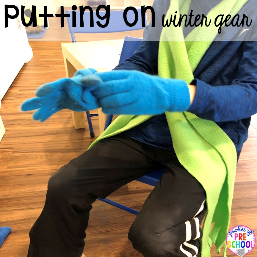 Self help skills - practice putting on gloves and mittens during pretend play at the Ice Rink!