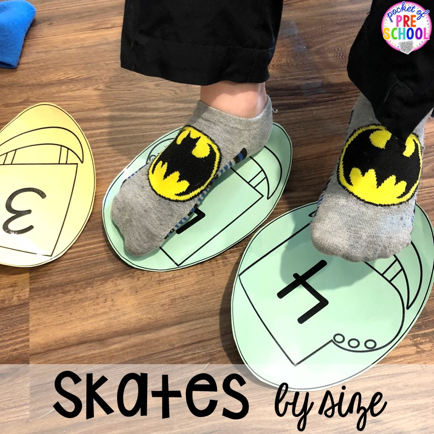 Measuring by size with ice skates at the pretend Ice Rink in the dramatic play center. How to make an Ice Skating Rink Dramatic Play for Preschool, Pre-K, & Kindergarten classrooms. #dramaticplay #pretendplay #wintertheme #prek #preschool