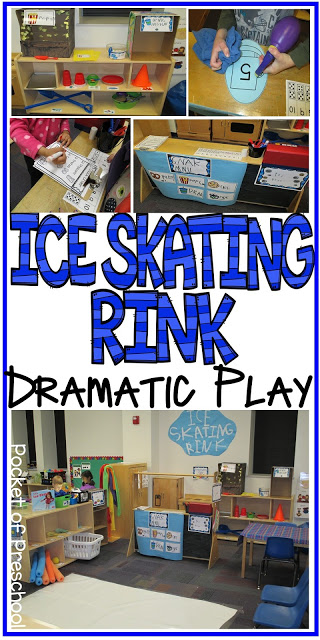 How to make an Ice Skating Rink Dramatic Play for Preschool, Pre-K, & Kindergarten classrooms. Perfect for a winter, polar bear, ice, penguin, or arctic theme.