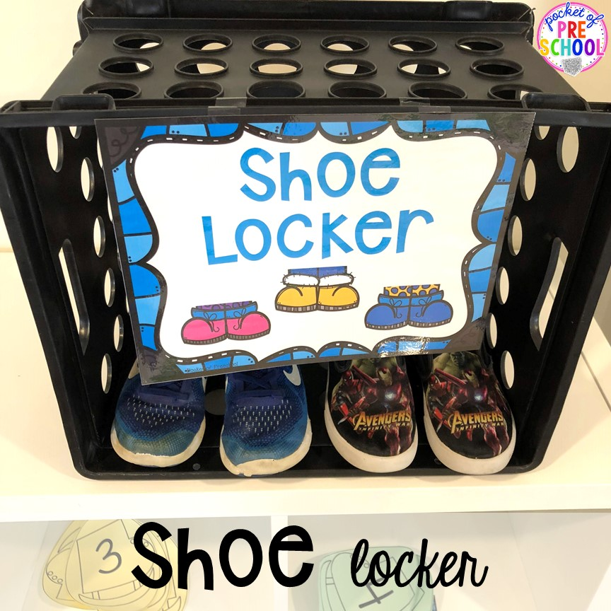 Shoe locker at the Ice Rink in dramatic play! Fun for a winter theme.