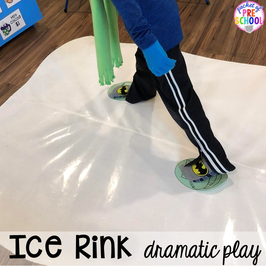 How to make the ice at the ice rink in the dramatic play center! A fun way to add gross motor into preschool, pre-k, or kindergarten students pretend play!