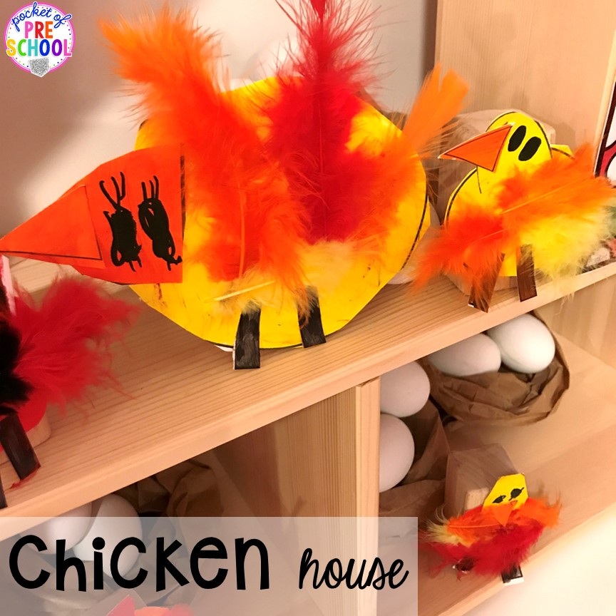CHicken house at the farm! Tips, tricks, and ideas to change your dramatic play center into a FARM! Perfect for preschool, pre-k, and kindergarten classrooms.
