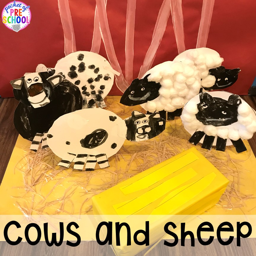 Child made cows, sheepn and hay. Tips, tricks, and ideas to change your dramatic play center into a FARM! Perfect for preschool, pre-k, and kindergarten classrooms.