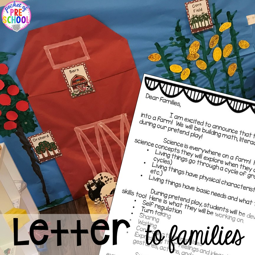 Letter to families to introduce a farm theme. Tips, tricks, and ideas to change your dramatic play center into a FARM! Perfect for preschool, pre-k, and kindergarten classrooms. #farmtheme #dramaticplay #pretend