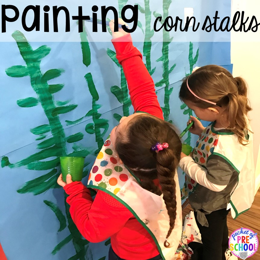 Painting the background for the farm. Tips, tricks, and ideas to change your dramatic play center into a FARM! Perfect for preschool, pre-k, and kindergarten classrooms. #farmtheme #dramaticplay #pretend