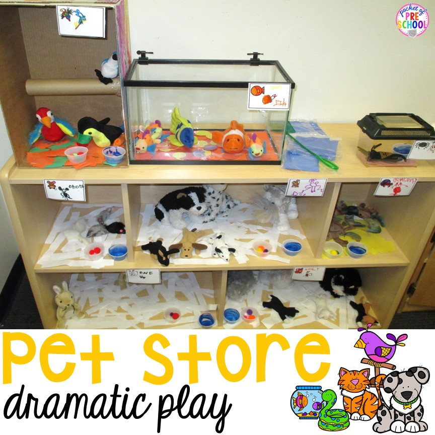 How to set up a pet store in your dramatic play center (with tons of math and literacy learning opportunities)