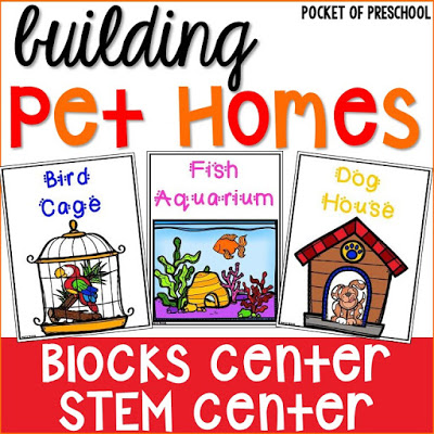 Blocks Center: Pet Home STEM challenge posters (FREEBIE) for preschool, pre-k, kindergarten, and first. Fun for a pet theme.