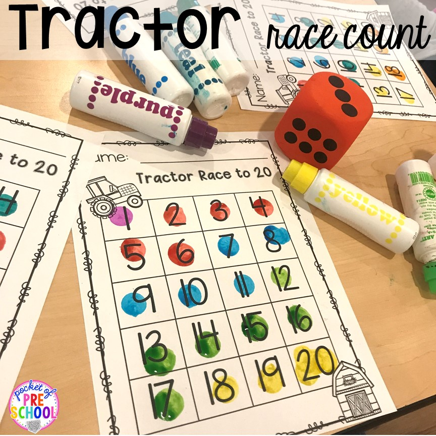 Tractor race counting game plus more fun farm math & science activities for my preschool, prek, and kindergarten kiddos. #farmtheme #preschool