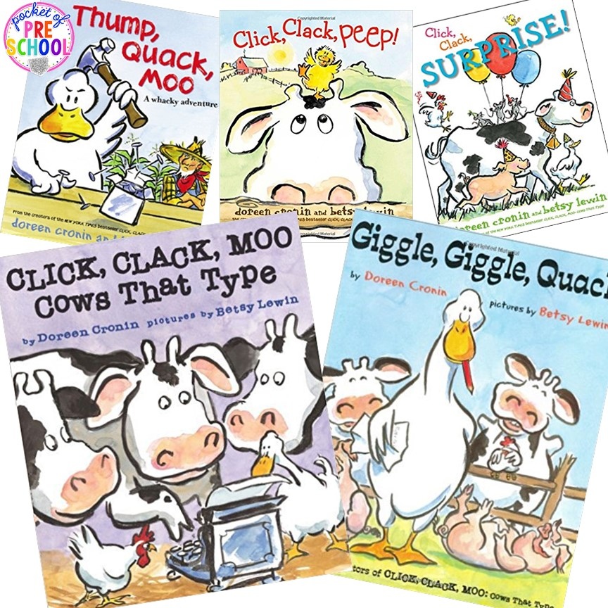 Click Clack Moo activities plus more fun farm literacy activities for my preschool, prek, and kindergarten kiddos. #farmtheme #preschool
