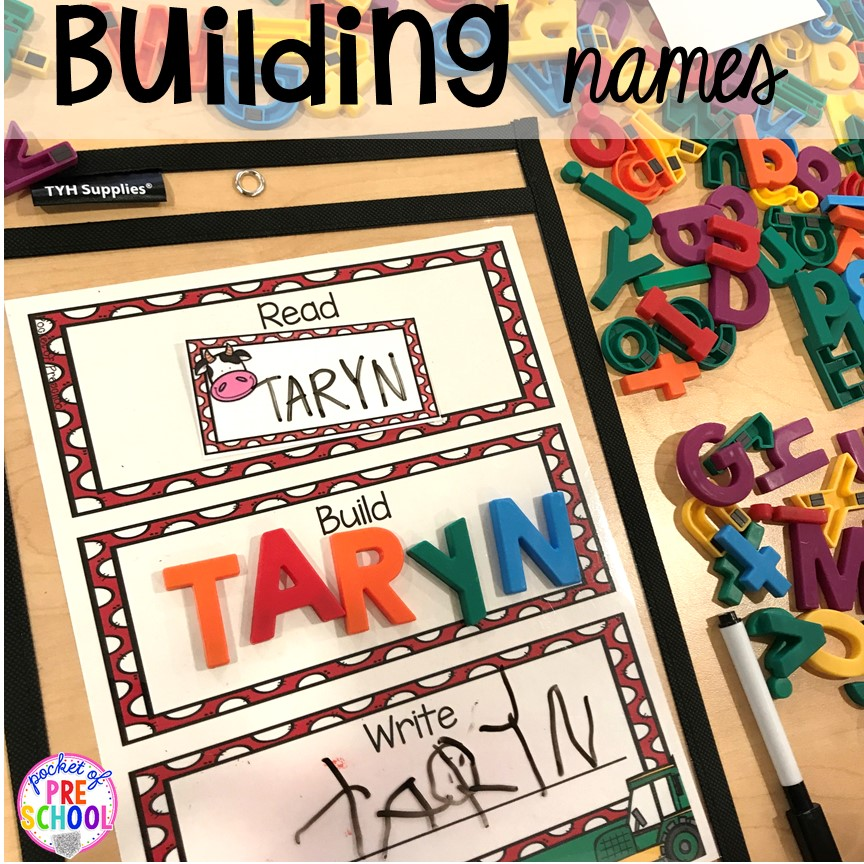 Building names farm style plus more fun farm literacy activities for my preschool, prek, and kindergarten kiddos. #farmtheme #preschool