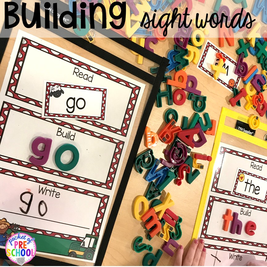 Building sight words farm style puzzle plus more fun farm literacy activities for my preschool, prek, and kindergarten kiddos. #farmtheme #preschool