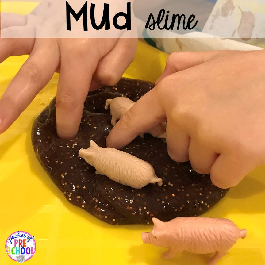 Mud slime plus tons of farm themed art, sensory, and fine motor activities for preschool & pre-k. #farmtheme #preschool #pre-k #pocketofpreschool