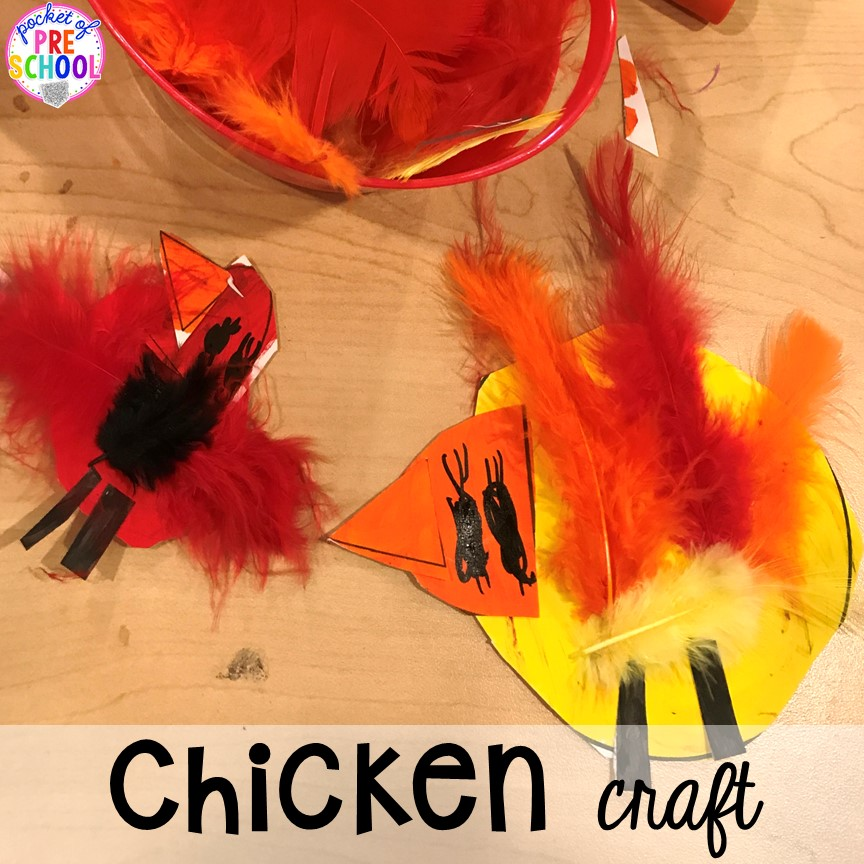 Chicken craft plus tons of farm themed art, sensory, and fine motor activities for preschool & pre-k. #farmtheme #preschool #pre-k #pocketofpreschool