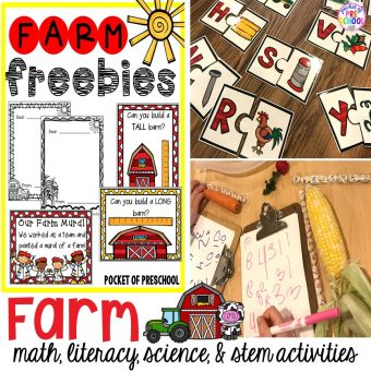 Farm themed math, literacy, science, blocks, & stem activities that preschool, pre-k, and kindergarten students will LOVE (with FREEBIES)! #farmtheme #preschool #pre-k #preschoolcenters