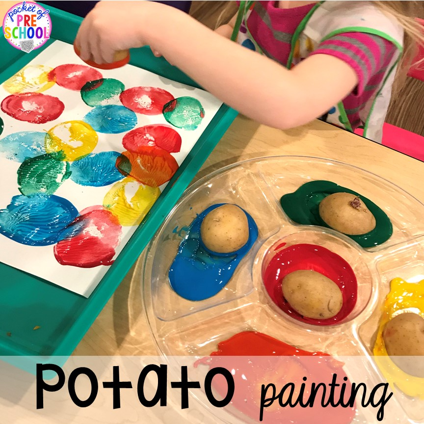 Potato painting plus tons of farm themed art, sensory, and fine motor activities for preschool & pre-k. #farmtheme #preschool #pre-k #pocketofpreschool