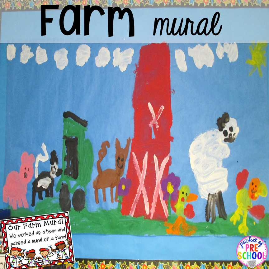 Farm kid mural plus tons of farm themed art, sensory, and fine motor activities for preschool & pre-k. #farmtheme #preschool #pre-k #pocketofpreschool
