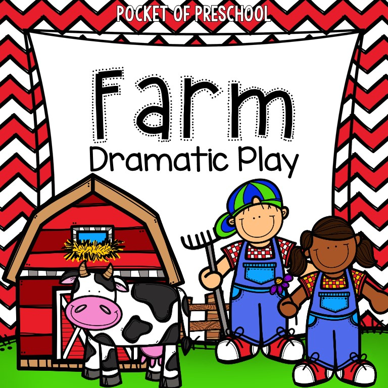 Farm dramatic play unti with printbables, photos, props, and more for preschool, pre-k, and kindergarten.