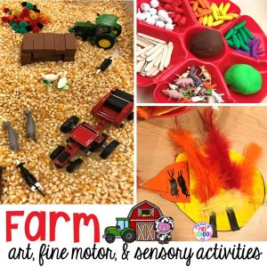 All our favorite farm sensory, fine motor, and art activities. Designed for preschool, pre-k, and kindergarten kiddos.