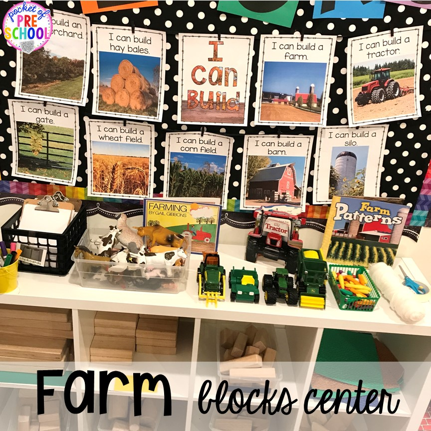 Farm blocks center inspiration more fun farm math & science activities for my preschool, prek, and kindergarten kiddos. #farmtheme #preschool