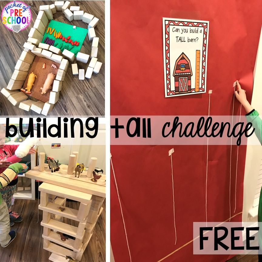 STEM farm barn building challenge freebie more fun farm math & science activities for my preschool, prek, and kindergarten kiddos. #farmtheme #preschool