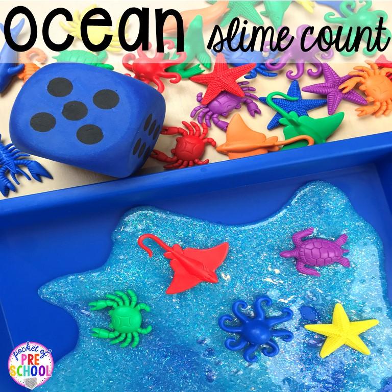 Ocean slime with counters! Ocean theme activities and centers for preschool, pre-k, and kindergarten (math, liteacy, sensory, fine motor, STEM). #oceantheme #preschool #prek #beachtheme