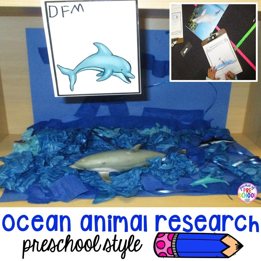 Ocean research for preschooler & pre-k! Yes they can write, draw, and create about their favorite ocean animal too (perfect for an ocean theme)
