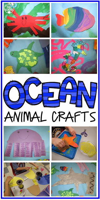 Ocean Animal Crafts and Ocean Mural - Pocket of Preschool