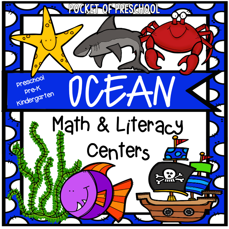 Ocean themed math and literacy centers! Designed for preschool, pre-k, and kindegarten.