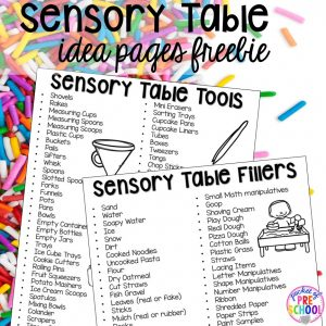 FREE sensory table lists for lesson planning! Sensory table ideas - sensory filler list, sensory tools list plus how to make it meaningful play in your preschool, pre-k, or kindergarten classroom.