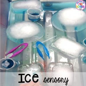 Ice sensory table! Sensory table ideas - sensory filler list, sensory tools list plus how to make it meaningful play in your preschool, pre-k, or kindergarten classroom.